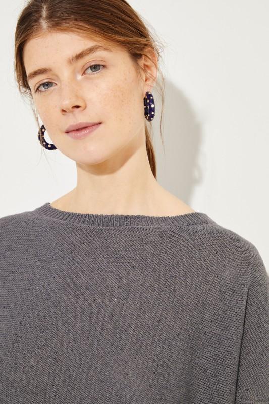Baumwoll-Leinen-Pullover mit Paillettendetails Grau