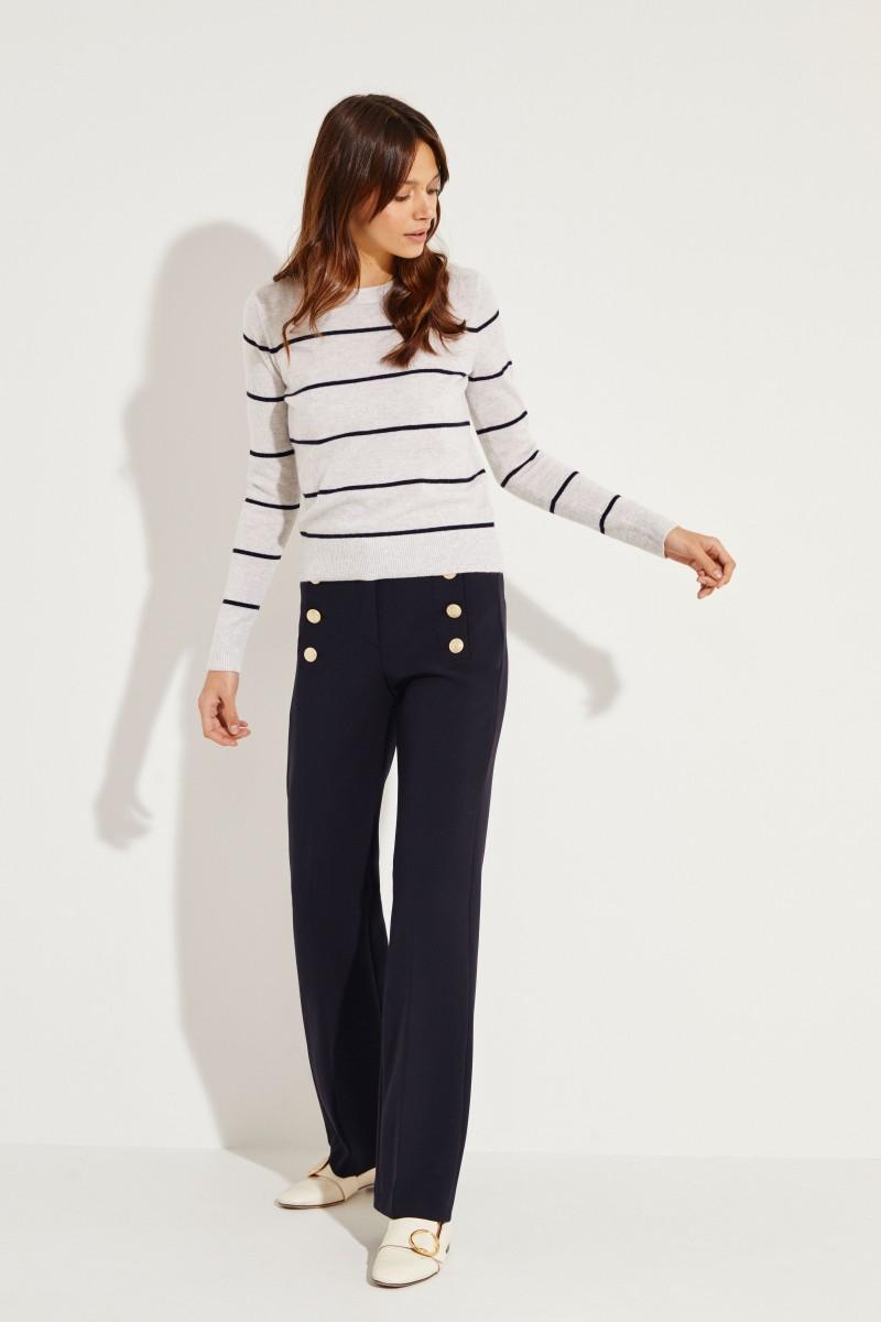 Klassische Hose mit Knopfverzierung 'Sailor' Marineblau