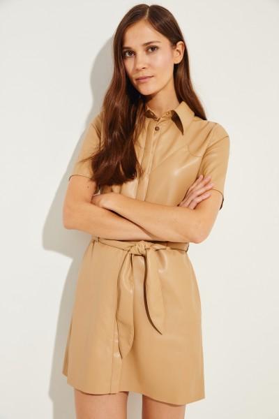 Kunstleder-Kleid 'Roberta' mit Gürtel Beige