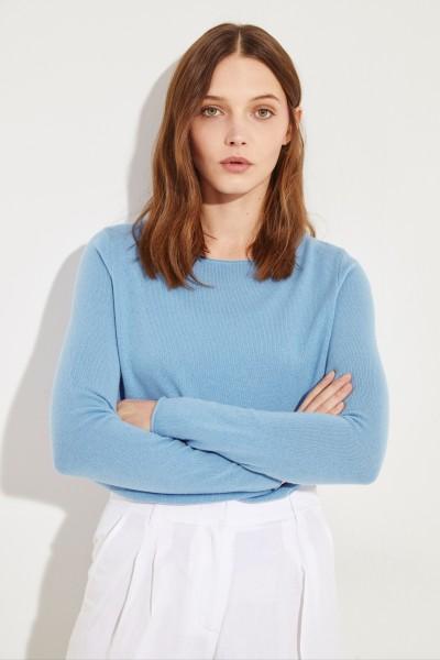 Woll-Cashmere-Pullover Blau