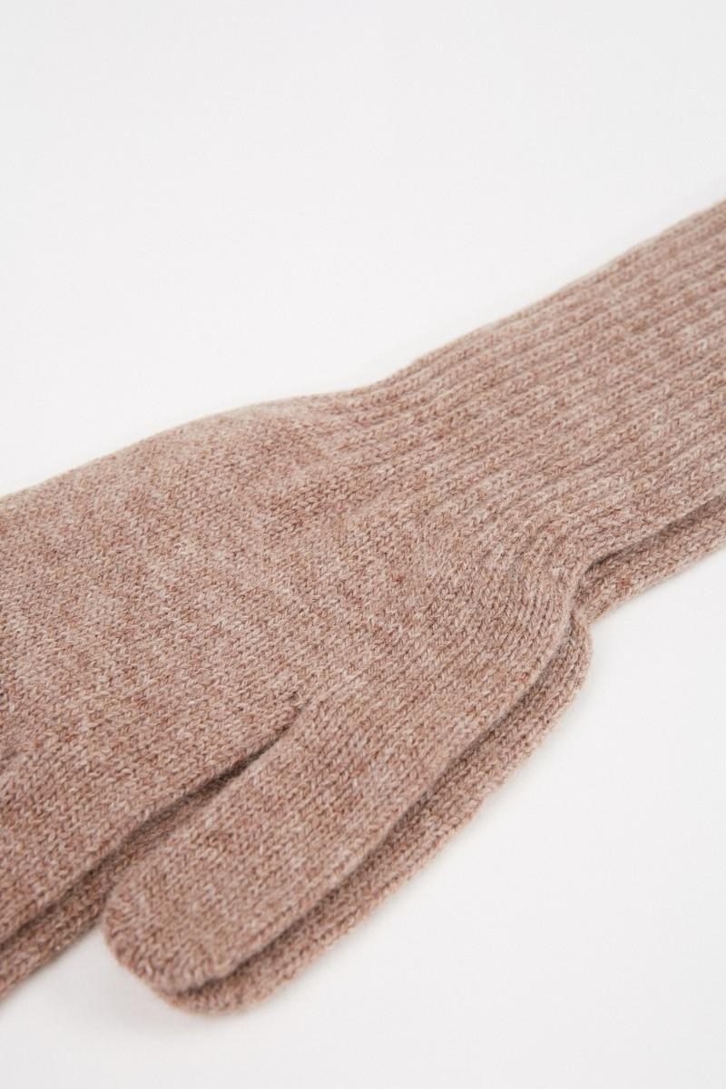 Uzwei Lange Woll-Cashmere-Handschuhe Taupe