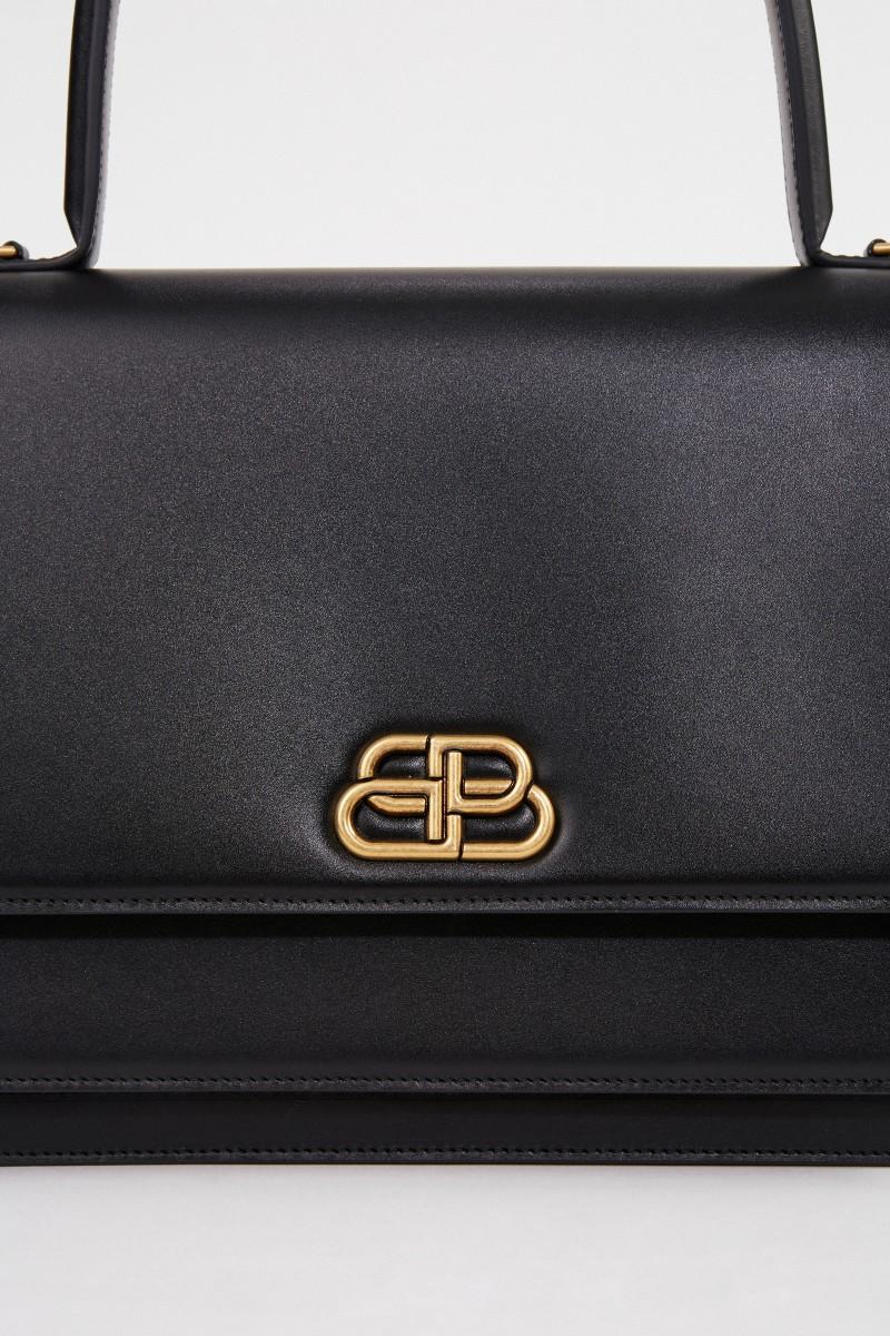 Leder-Tasche mit Logo Schwarz