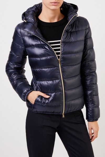 Herno Short down jacket with hood Navy Blue