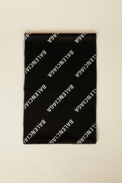Seidenschal mit Logo-Druck Schwarz/Weiß