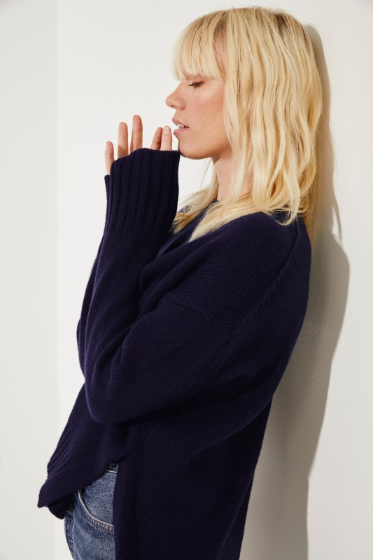 Oversize Cashmere-Pullover 'Chrissy' Blau
