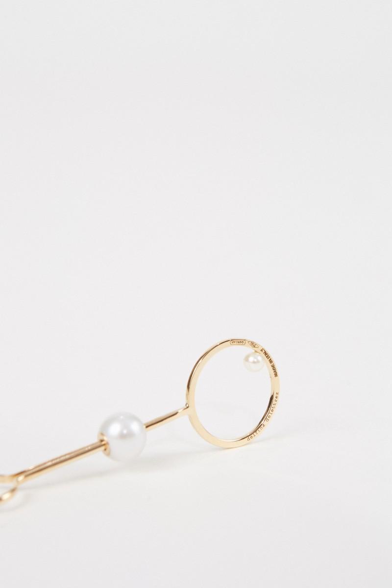 Delfina Delettrez Ohrring 'Double Bubble' mit Diamant und Perlen Gelbgold