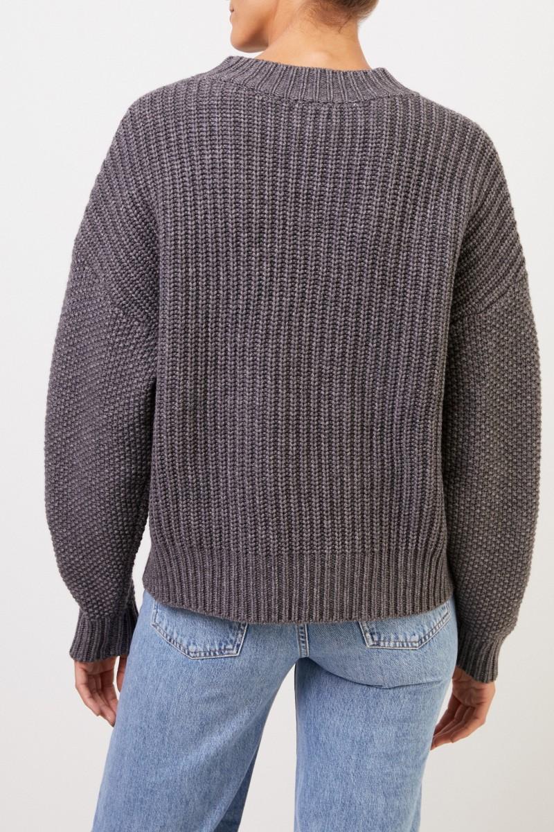 Uzwei Woll-Cashmere-Pullover mit Zopfmuster Grau