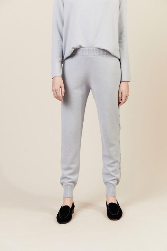 Woll-Cashmere-Hose mit Perlen-Details Hellblau