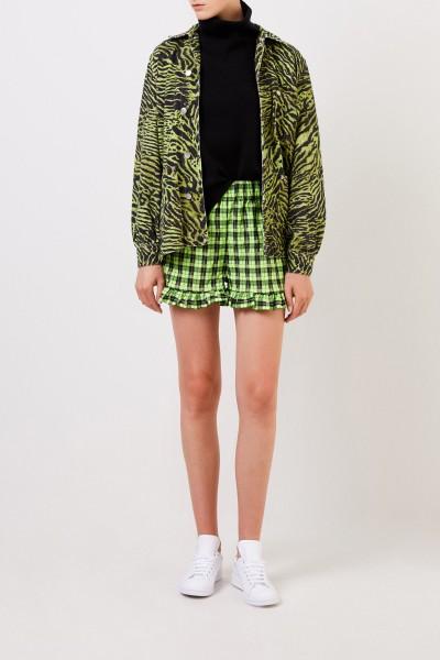 Karierte Shorts mit Rüschen Neon/Schwarz