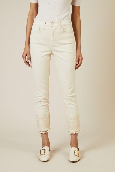 Jeans 'Lana' mit Stickerei Créme