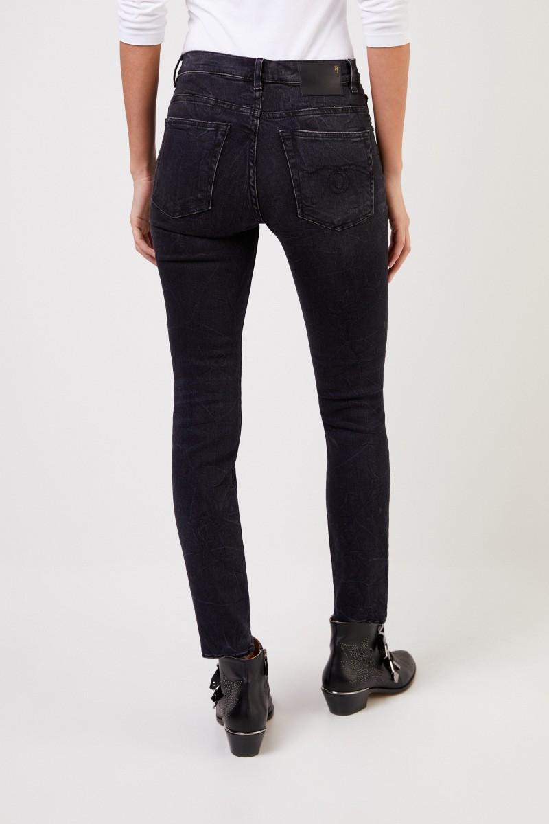 Highrise Skinny-Jeans mit Waschung Schwarz
