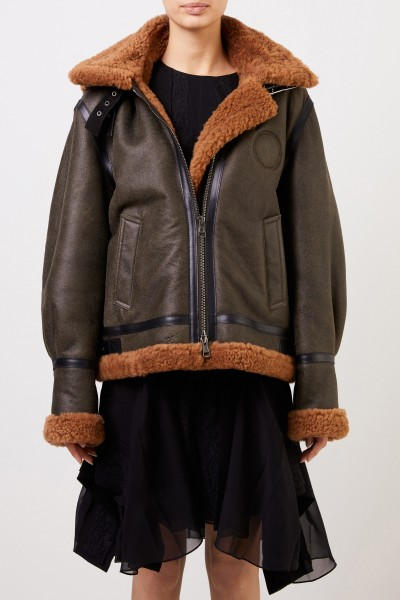 Chloé Lambskin jacket with structured leather Brown/Green