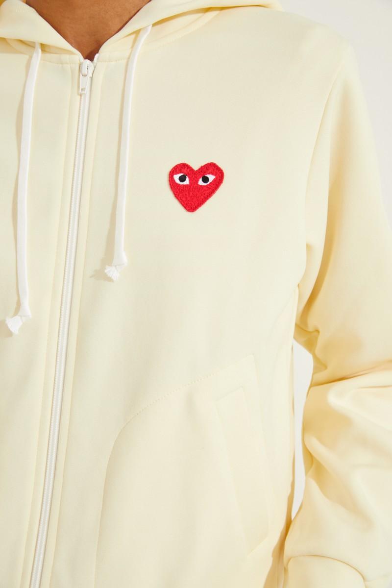 Sweatjacke mit Herz-Emblem Gelb