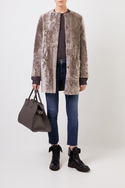 Reversible lambskin coat 'Pippa Astracan' Taupe