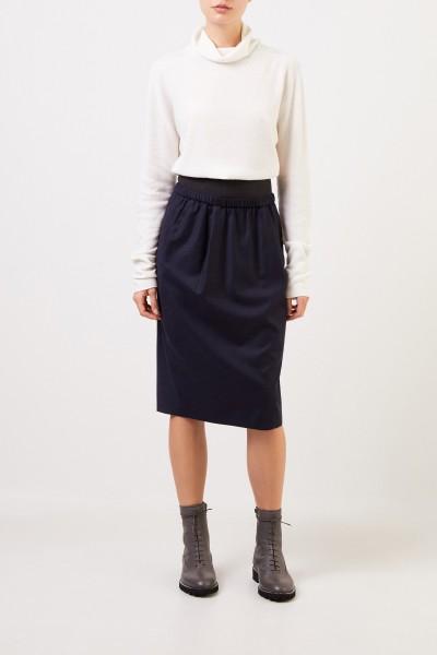 Fabiana Filippi Wool pencil skirt with elastic waistband Navy Blue
