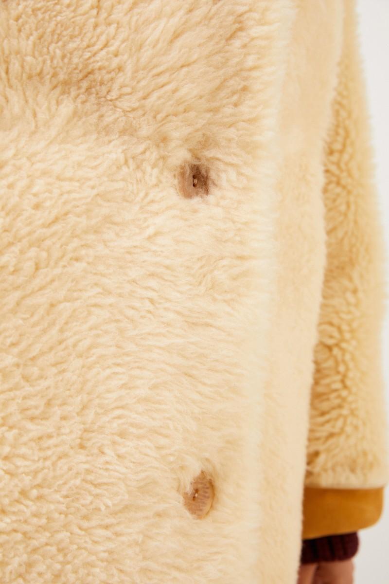Furry Lammfell-Wendemantel Camel