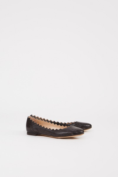 Chloé Leather flat with shell hem Black