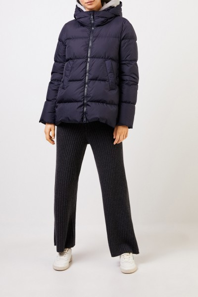 Classic down jacket with hood Navy Blue