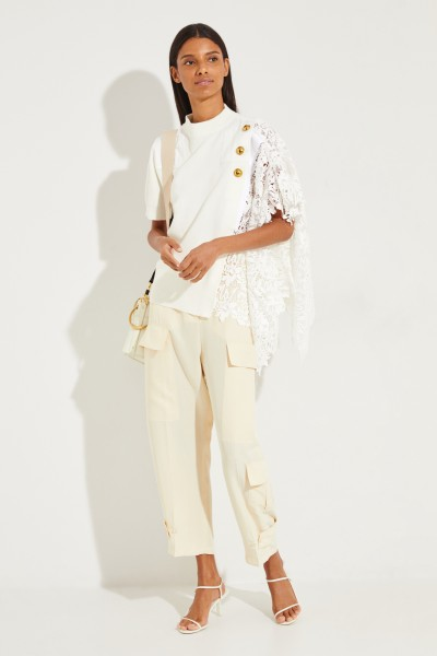 Sacai T-Shirt with floral lace trim Cream