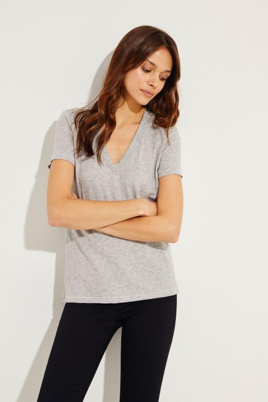 Schlichtes V-Neck T-Shirt Grau