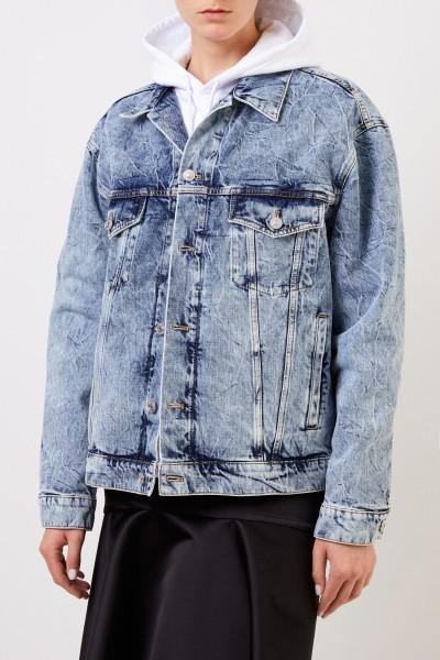 Balenciaga Oversize jeans jacket with wash Blue