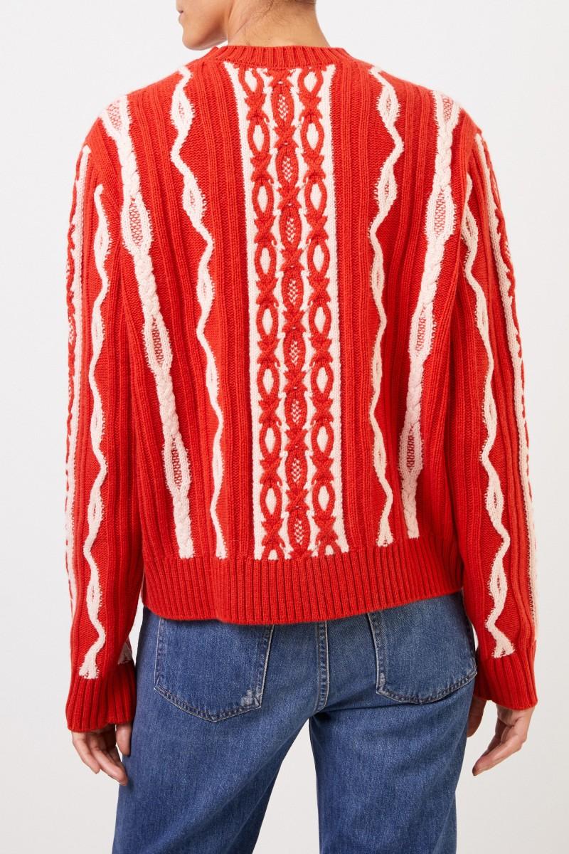 Uzwei Woll-Cashmere-Pullover mit Intarsienmuster Orange/Weiß