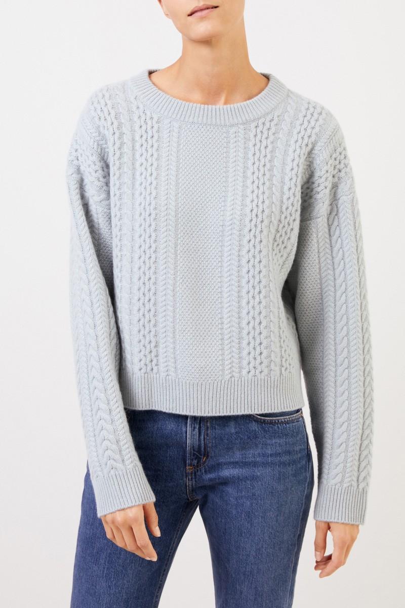 Uzwei Cashmere-Pullover mit Zopfmuster Seegrün