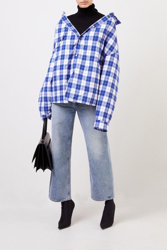 Balenciaga Baumwollflanell-Swingbluse mit Karomuster Blau/Weiß