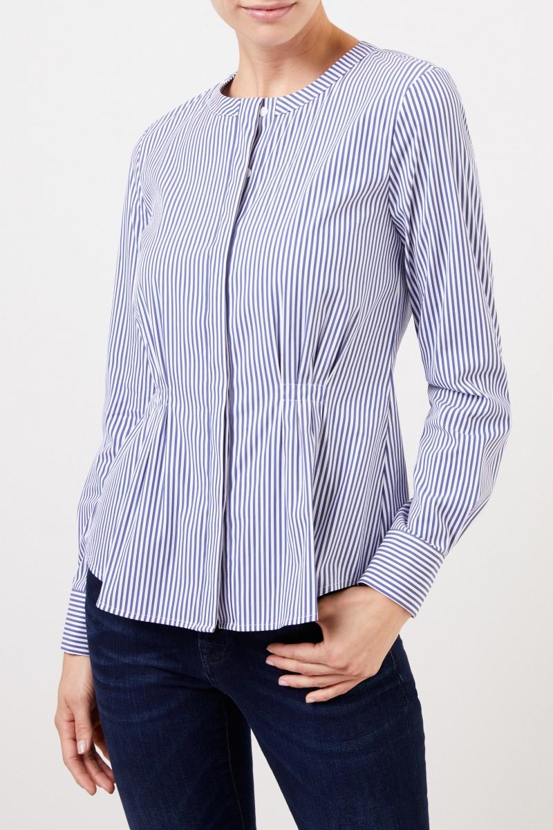 Louis and Mia Taillierte Baumwoll-Bluse mit Streifen Blau/Weiß