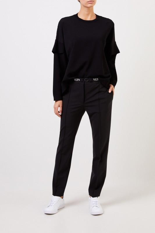 Valentino Wool pants with belt Black