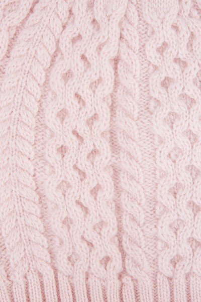 Uzwei Cashmere hat with cable stitch Light Pink