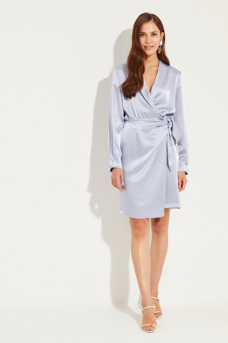 Kleid 'Siwa' mit Bindedetail Blau