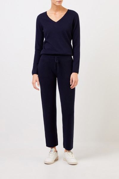Cashmere pants with mesh knit Navy