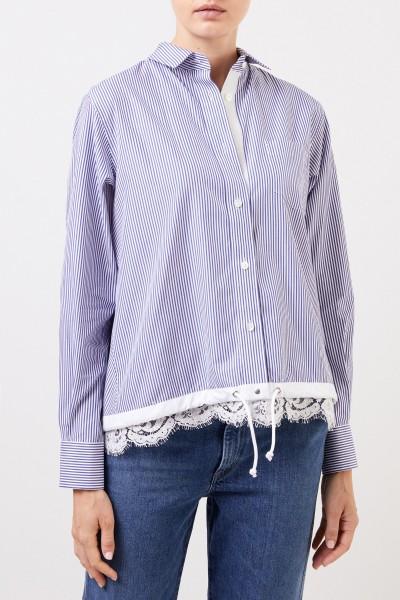 Sacai Gestreifte Bluse mit Spitzendetails Blau/Weiß