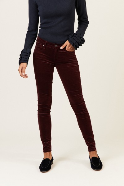 Samt-Jeans 'The Skinny' Bordeaux