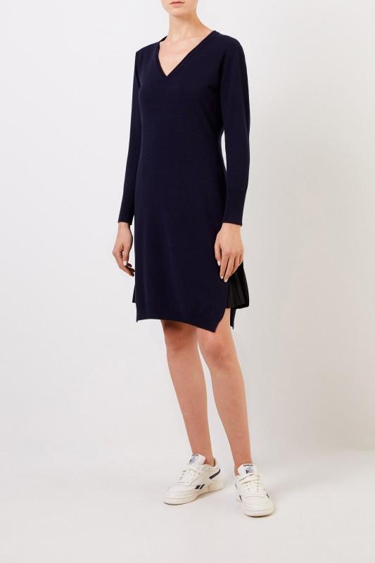 Fabiana Filippi Zweiteiliges Woll-Kleid mit PlisseeDetail Blau