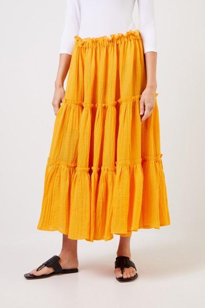 Lisa Marie Fernandez Midi-Leinenrock mit Rüschen Orange