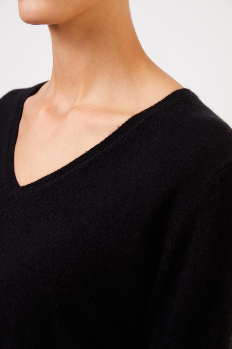 Uzwei Cashmere-Pullover mit V-Neck Schwarz