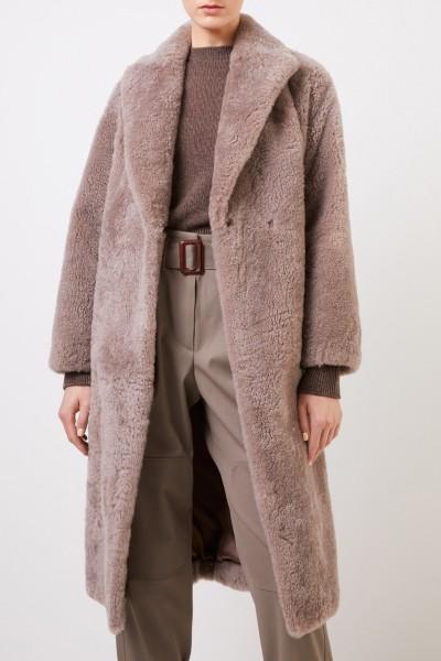 Brunello Cucinelli Cashmere-Pelz-Mantel mit Gürtel Braun