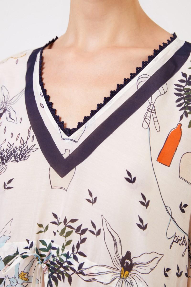 Tory Burch Baumwoll-Seiden-Tunika mit Print Crème/Multi