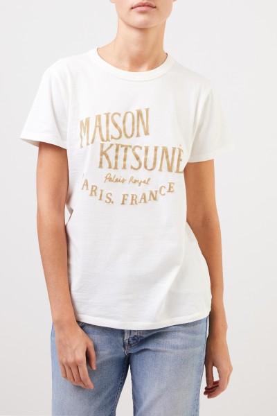 Maison Kitsuné T-Shirt 'Palais Royal' mit Logo-Schriftzug Crème