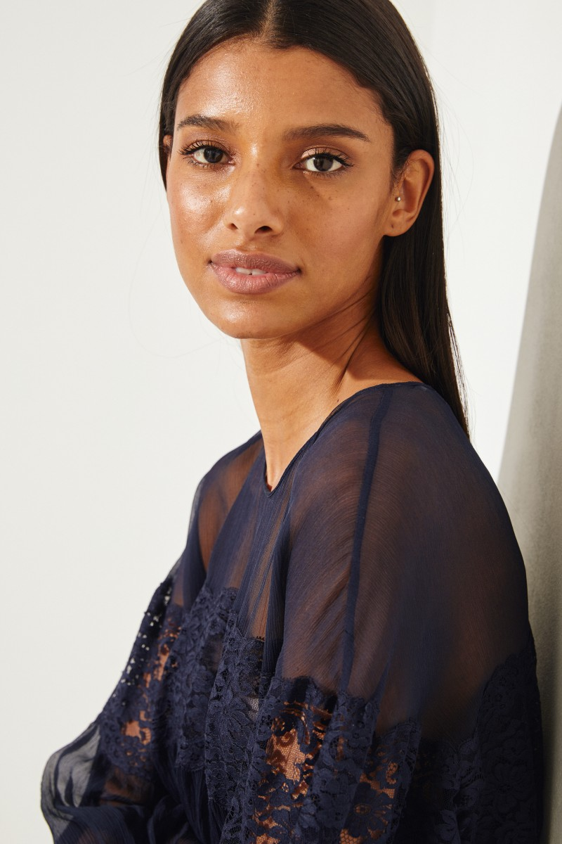 Silk chiffon blouse with lace detail Navy Blue