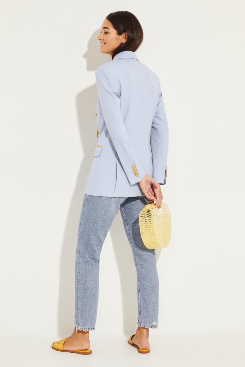 Woll-Blazer 'Harry' mit Satindetails Blau/Gelb