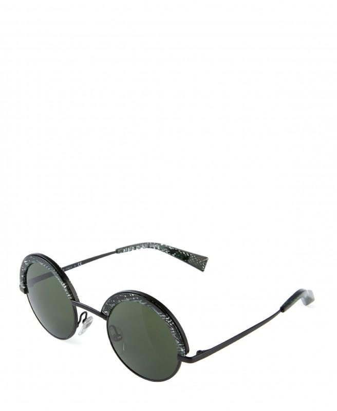 Abgerundete Sonnenbrille Schwarz/Grün