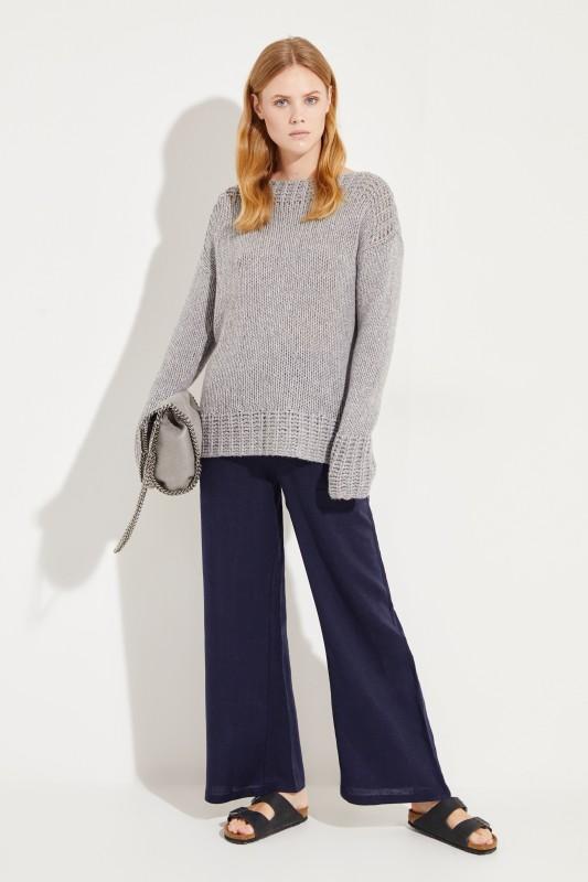 Handstrick-Cashmere-Pullover Grau