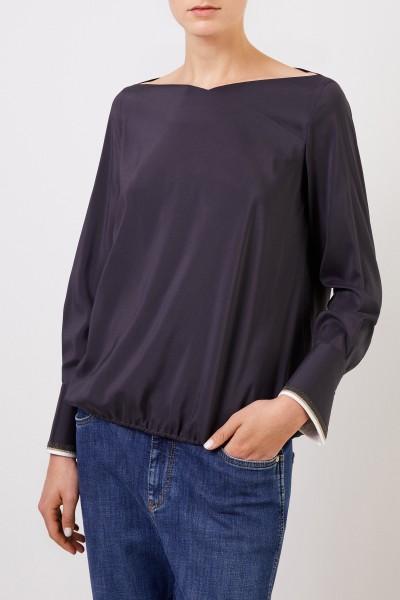 Brunello Cucinelli Seiden-Bluse mit breiten Manschetten Anthrazit