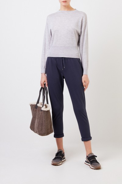 Cotton sweat pants with pearl adornment Blue