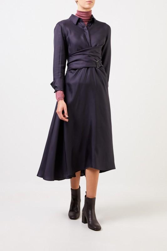 Seiden-Hemdblusenkleid mit Wickeldetail Blau