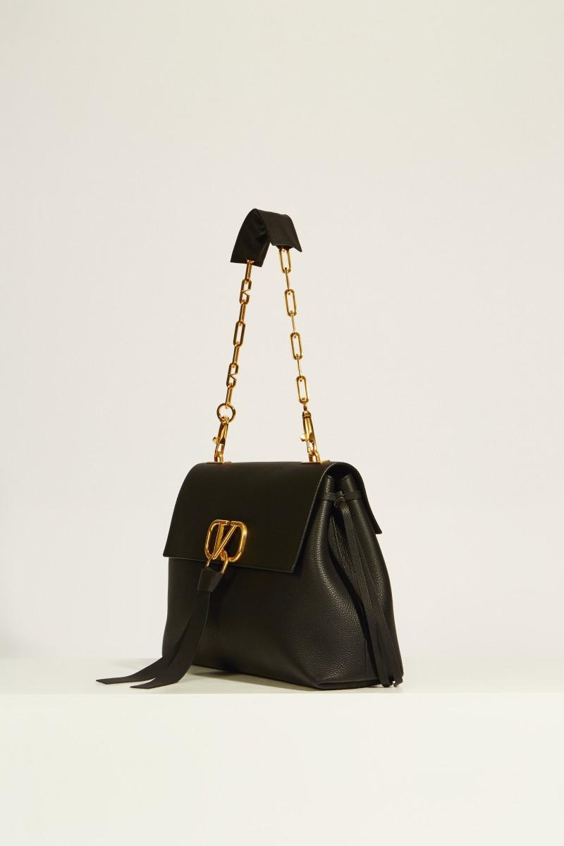 Leder-Tasche 'Vring' mit Kettenriemen Schwarz