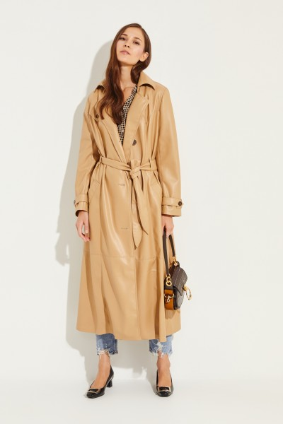 Leather trenchcoat 'Chiara' with belt Beige